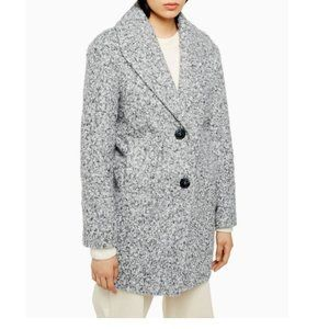 Topshop Black And White Salt And Pepper Coat